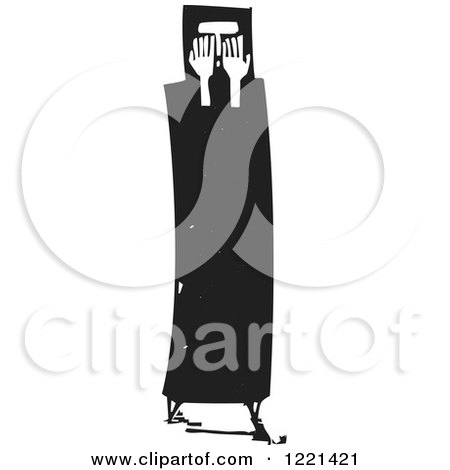 Clipart of a Black and White Arab Woman Crying Woodcut - Royalty Free Vector Illustration by xunantunich