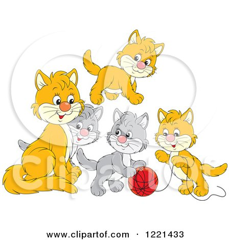 Clipart of a Cute Gray and Orange Kittens Playing with Yarn - Royalty Free Vector Illustration by Alex Bannykh