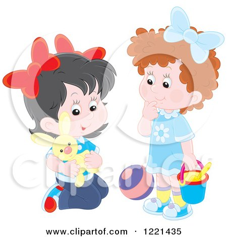 Clipart of Two Little Girls Playing with Toys - Royalty Free Vector Illustration by Alex Bannykh