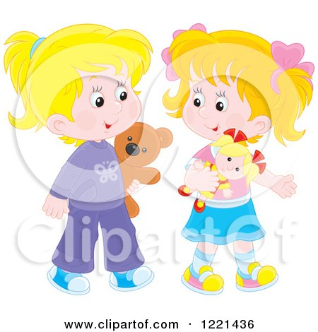 Clipart of Two Little Girls Walking with a Teddy Bear and Doll - Royalty Free Vector Illustration by Alex Bannykh