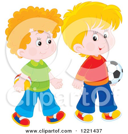 Clipart of Two Boys Carrying a Soccer and Toy Ball - Royalty Free Vector Illustration by Alex Bannykh