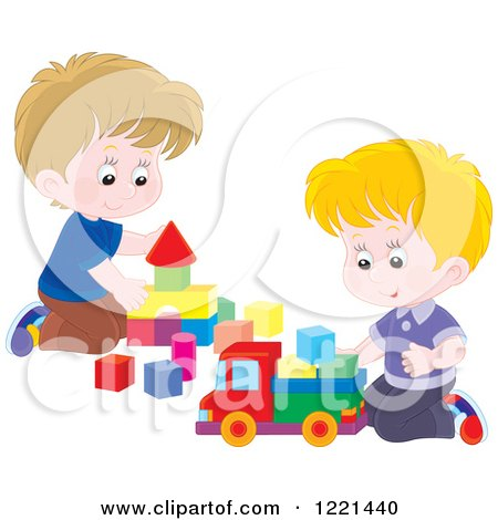 Clipart of Two Boys Playing with Blocks - Royalty Free Vector Illustration by Alex Bannykh