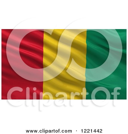 Clipart of a 3d Waving Flag of Guinea with Rippled Fabric - Royalty Free Illustration by stockillustrations