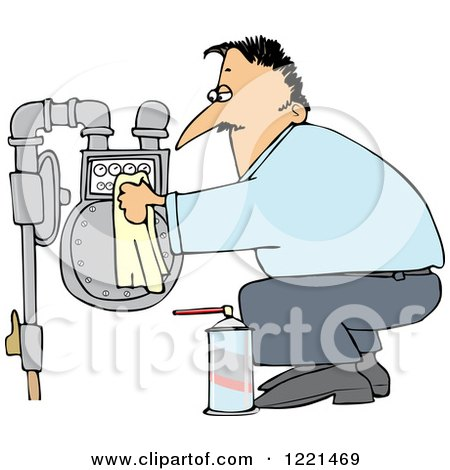 Clipart of a Caucasian Man Crouching and Cleaning a Gas Meter - Royalty Free Vector Illustration by djart