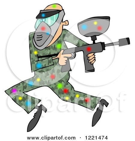 Clipart of a Paintball Man in Camouflage, Covered in Colorful Splats 2 - Royalty Free Illustration by djart