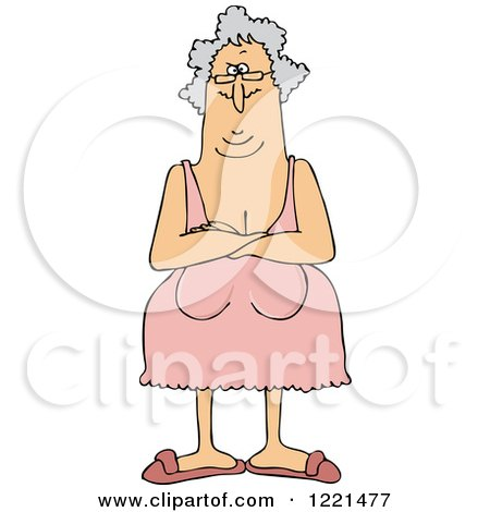 Clipart of a Senior Woman with Her Breasts Hanging Low - Royalty Free Vector Illustration by djart