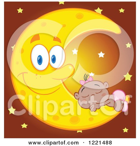 Clipart of a Black Baby Girl Sleeping on a Happy Crescent Moon with Stars - Royalty Free Vector Illustration by Hit Toon