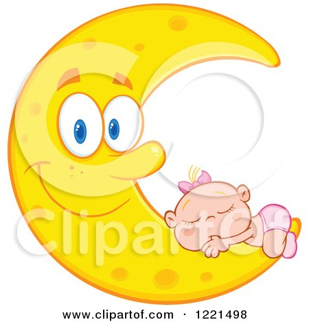 Clipart of a Caucasian Baby Girl Sleeping on a Happy Crescent Moon - Royalty Free Vector Illustration by Hit Toon