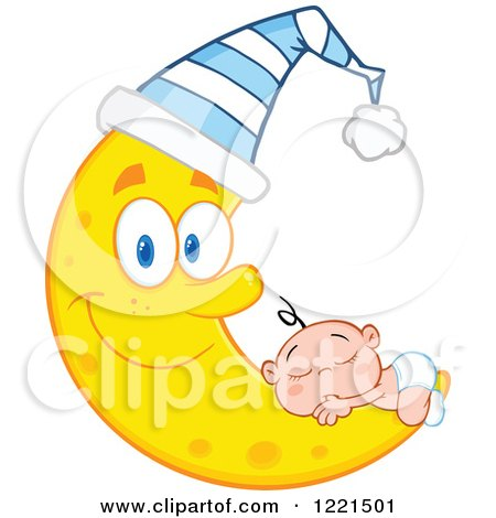 Clipart of a Caucasian Baby Sleeping on a Happy Crescent Moon Wearing a Cap - Royalty Free Vector Illustration by Hit Toon