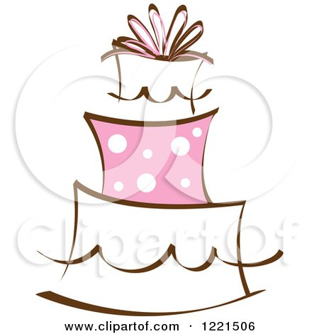 Clipart of a Three Tiered Cake with Pink Polka Dots - Royalty Free Vector Illustration by Pams Clipart