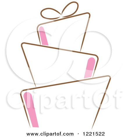 Clipart of a Modern Funky Pink and Brown Wedding or ...
