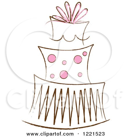Clipart of a Three Tiered Cake with Pink Polka Dots 2 - Royalty Free Vector Illustration by Pams Clipart