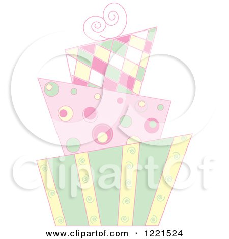 Clipart of a Pastel Modern Funky Patterned Wedding or Birthday Cake - Royalty Free Vector Illustration by Pams Clipart