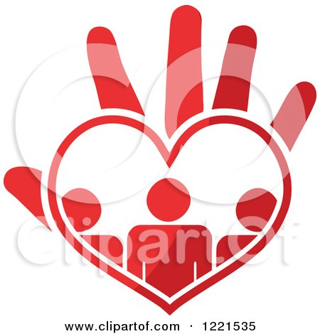 Clipart of a Red Hand with People in a Heart Palm - Royalty Free Vector Illustration by Andrei Marincas