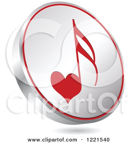 Clipart of a 3d Floating Silver and Red Heart Music Note Icon - Royalty Free Vector Illustration by Andrei Marincas