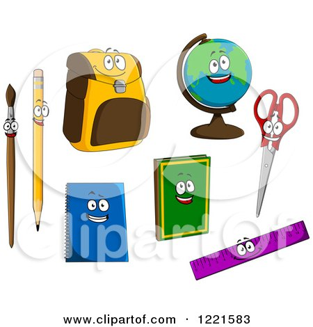 Clipart of School Item and Supply Characters - Royalty Free Vector Illustration by Vector Tradition SM