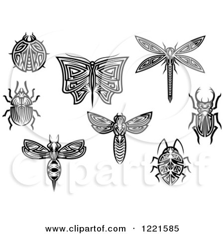 Clipart of Black and White Tribal Insects 2 - Royalty Free Vector Illustration by Vector Tradition SM
