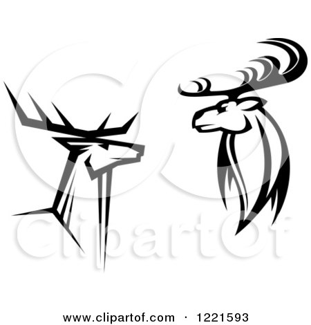 Deer illustration black and white - photo#15