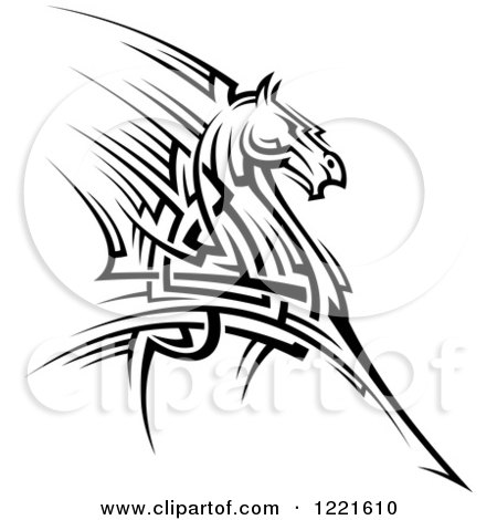 Clipart of a Black and White Running Tribal Horse 2 - Royalty Free Vector Illustration by Vector Tradition SM