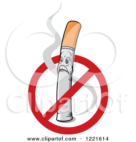 No Smoking Symbol over a Shocked Cigarette Character with Smoke Posters, Art Prints