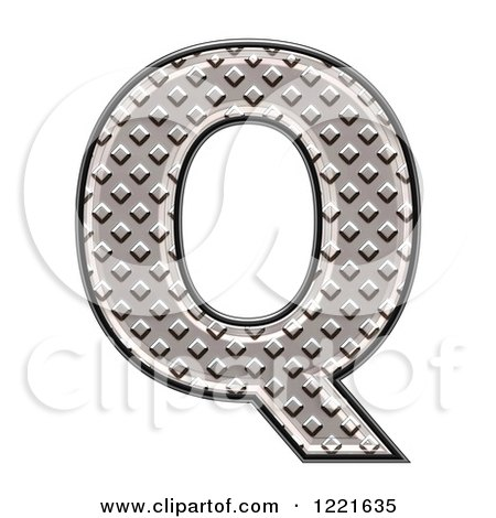 Clipart of a 3d Diamond Plate Capital Letter Q - Royalty Free Illustration by chrisroll