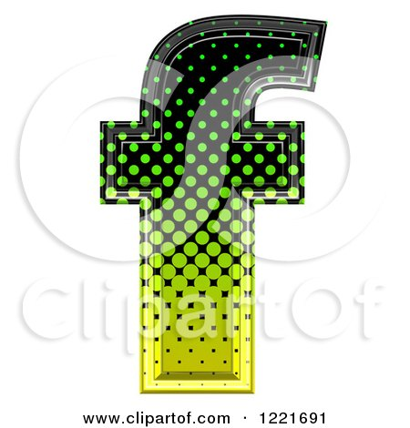 Clipart of a 3d Gradient Green and Black Halftone Lowercase Letter F - Royalty Free Illustration by chrisroll