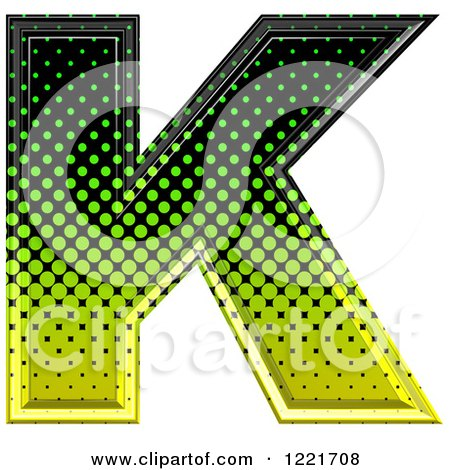 Clipart of a 3d Gradient Green and Black Halftone Capital Letter K - Royalty Free Illustration by chrisroll