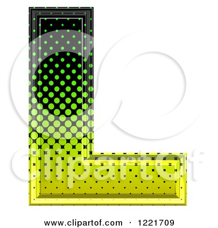 Clipart of a 3d Gradient Green and Black Halftone Capital Letter L - Royalty Free Illustration by chrisroll