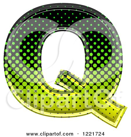 Clipart of a 3d Gradient Green and Black Halftone Capital Letter Q - Royalty Free Illustration by chrisroll