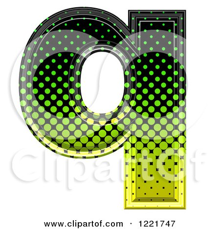 Clipart of a 3d Gradient Green and Black Halftone Lowercase Letter Q - Royalty Free Illustration by chrisroll