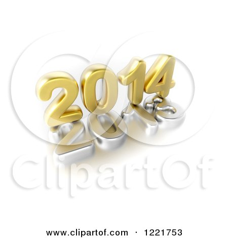 Clipart of a 3d Golden Year 2014 on Top of a Silver 2013, on White - Royalty Free Illustration by chrisroll