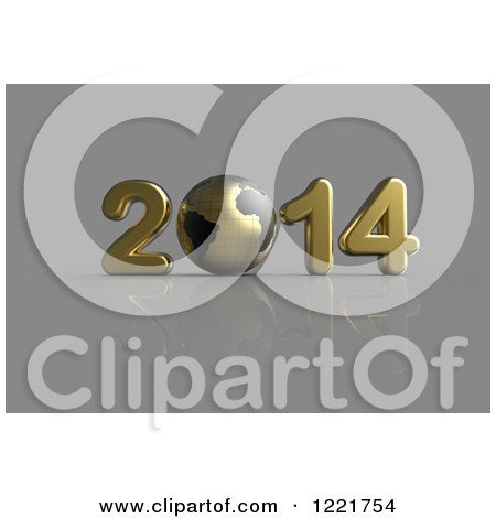 Clipart of a 3d Golden Year 2014 and Grid Globe, on Gray - Royalty Free Illustration by chrisroll