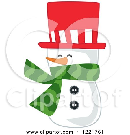 Clipart of a Snowman Wearing a Red Top Hat and a Green Scarf - Royalty Free Vector Illustration by peachidesigns