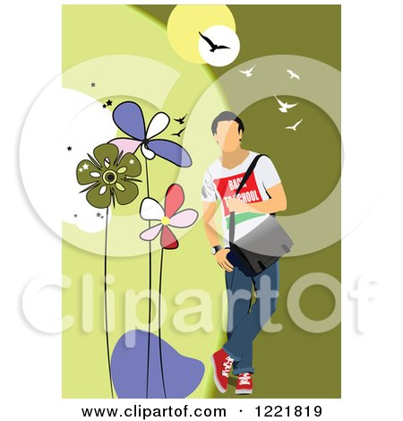 Clipart of a Casual Man Modeling Clothes - Royalty Free Vector Illustration by leonid