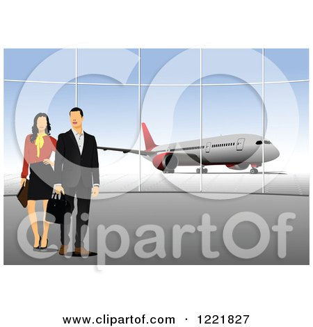 Clipart of a Proffessional Couple at an Airport - Royalty Free Vector Illustration by leonid