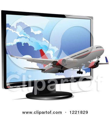Clipart of a Commercial Airliner Emerging from a Computer Screen - Royalty Free Vector Illustration by leonid