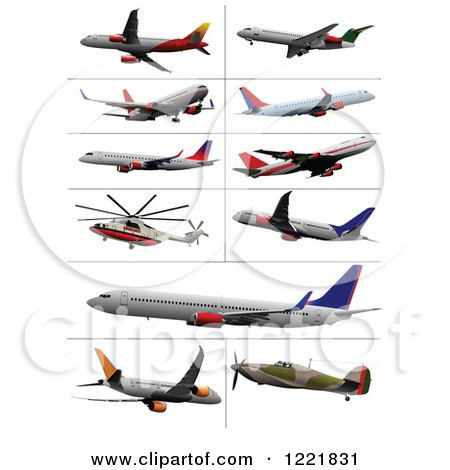 Clipart of Commercial Airliners - Royalty Free Vector Illustration by leonid
