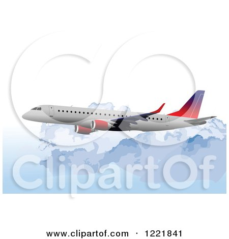 Clipart of a Commercial Airliner over Clouds - Royalty Free Vector Illustration by leonid