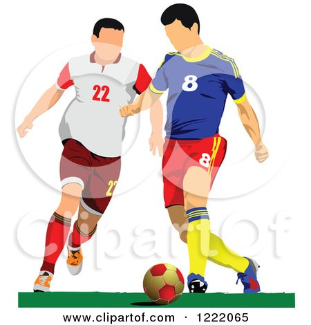 Clipart of Male Soccer Players - Royalty Free Vector Illustration by leonid