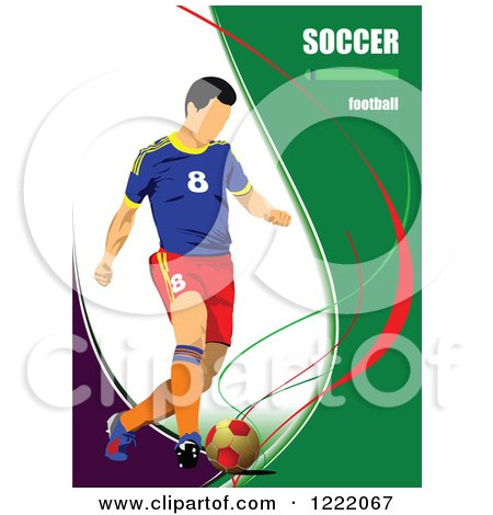 Clipart of a Male Soccer Player with Text - Royalty Free Vector Illustration by leonid