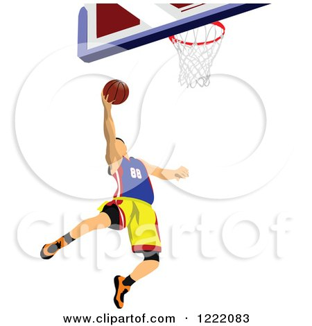 Clipart of a Male Basketball Player - Royalty Free Vector Illustration by leonid