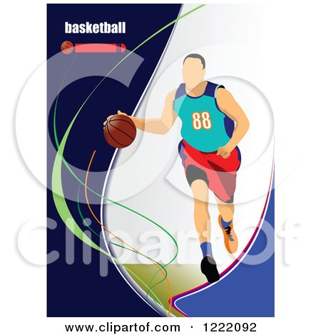 Clipart of a Male Basketball Player with Text - Royalty Free Vector Illustration by leonid