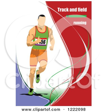 Clipart of a Track and Field Runner with Text - Royalty Free Vector Illustration by leonid