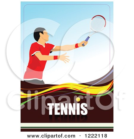 Clipart of a Male Tennis Player with Text - Royalty Free Vector Illustration by leonid