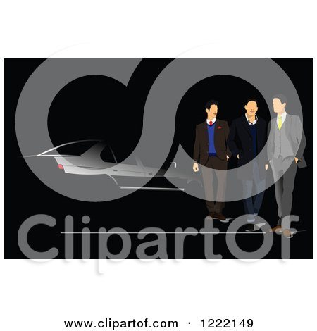 Clipart of Men on a Black Car Background - Royalty Free Vector Illustration by leonid