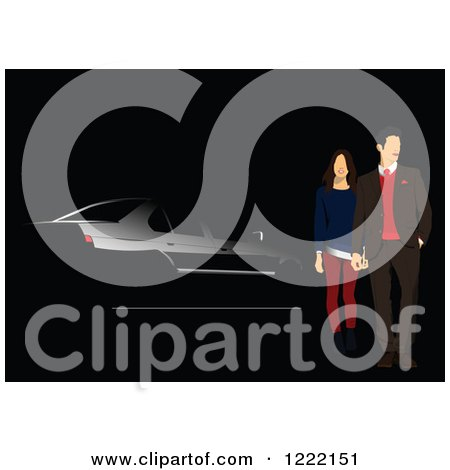 Clipart of a Couple and Black Car Background - Royalty Free Vector Illustration by leonid