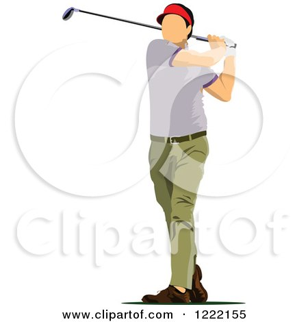Clipart of a Male Golfer - Royalty Free Vector Illustration by leonid