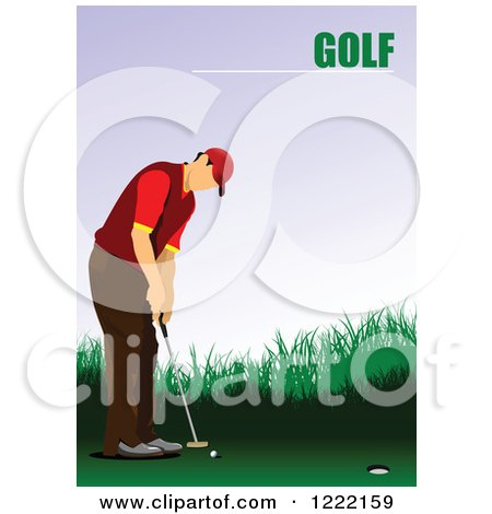 Clipart of a Male Golfer with Text - Royalty Free Vector Illustration by leonid