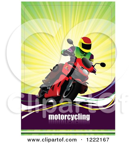 Clipart of a Biker Riding a Motorcycle with Text - Royalty Free Vector Illustration by leonid