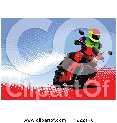 Clipart of a Biker Riding a Motorcycle - Royalty Free Vector Illustration by leonid
